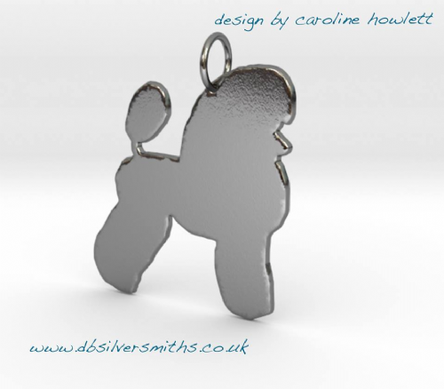 Miniature poodle dog silhouette pendant sterling silver handmade by saw piercing Caroline Howlett Design